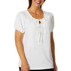 Cathy Daniels Petite Solid Daisy Embroidered Keyhole Top