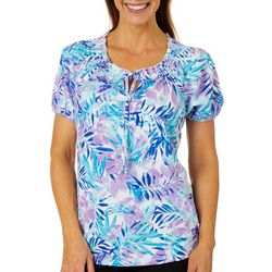 Cathy Daniels Petite Tropical Palm Leaf Top