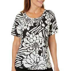 Cathy Daniels Petite Floral Disco Dot Top