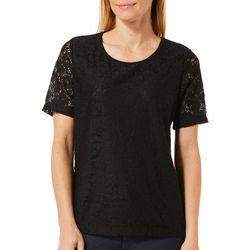 Cathy Daniels Petite Blooming Floral Lace Overlay Top