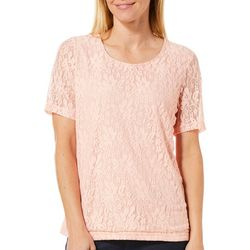 Cathy Daniels Petite Floral Lace Overlay Top