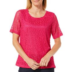 Cathy Daniels Petite Scattered Leaf Lace Top