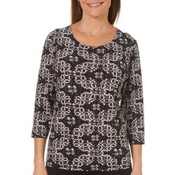Cathy Daniels Petite Diamond Floral Print Disco Dot Top