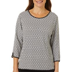 Cathy Daniels Petite Geometric Round Neck Top