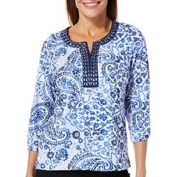 Cathy Daniels Petite Embellished Mosaic Floral Paisley Top