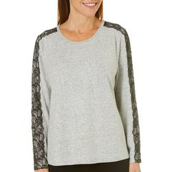 Cathy Daniels Petite Speckled Lace Sleeve Top