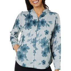 Cathy Daniels Petite Heathered Floral Zip Up Hoodie