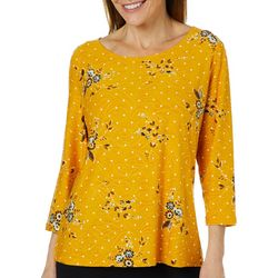 Cathy Daniels Petite Floral Print Textured Boat Neck Top