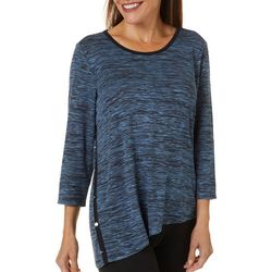 Cathy Daniels Petite Space Dye Asymmetrical Hem Top