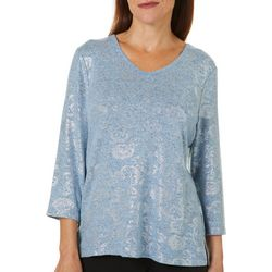 Cathy Daniels Petite Floral Foil Detail V-Neck Top