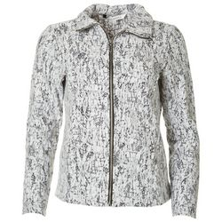 Emily Daniels Petite Lace Overlay Zippered Jacket