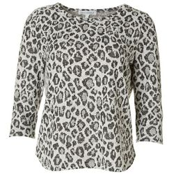 Emily Daniels Petite Leopard Round Neckline Top