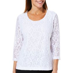 Cathy Daniels Petite Scroll Lace Top