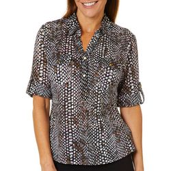 Cathy Daniels Petite Dot & Sheer Stripe Roll Tab Top
