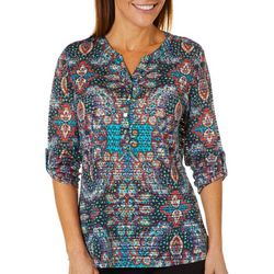 Cathy Daniels Petite Paisley & Sheer Stripe Roll Tab Top