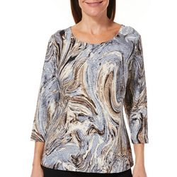 Cathy Daniels Petite Swirl Print Textured Top
