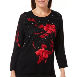 Cathy Daniels Petite Embellished Scarlet Flower Sweater