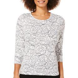 Cathy Daniels Petite Rose Rhinestone Sweater