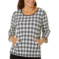 Cathy Daniels Petite Plaid Print Round Neck Sweater