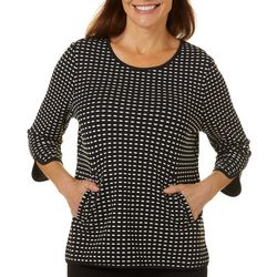 Cathy Daniels Petite Dotted Design Round Neck Top