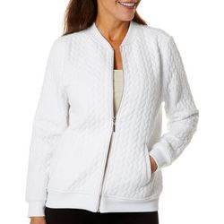 Cathy Daniels Petite Solid Quilted Long Sleeve Jacket