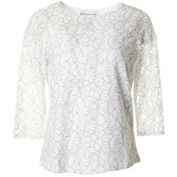 Cathy Daniels Petite Floral Lace Round Neck Top
