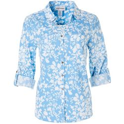 Cathy Daniels Petite Floral Print Button Down Roll Tab Top