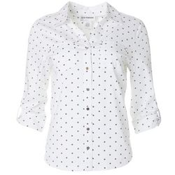 Cathy Daniels Petite Geo Dotted Button Down Top