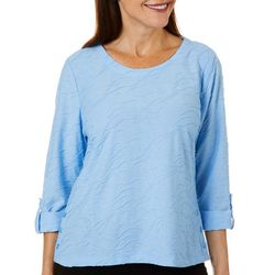 Cathy Daniels Petite Three Quarter Sleeve Textured Top