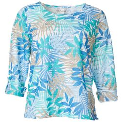 Cathy Daniels Petite Palm Print Sheer Stripe Round Neck Top