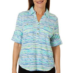 Cathy Daniels Petite Striped Knit Roll Tab Top