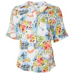 Cathy Daniels Petite Scenic Floral Button Down Roll Tab Top