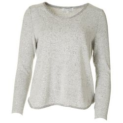 Emily Daniels Petite Solid Sparkle Long Sleeve Top