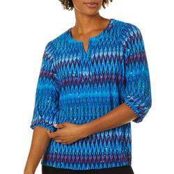 Cathy Daniels Petite Graphic Chevron Embellished Top