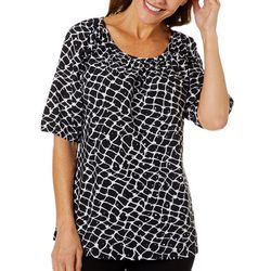 Cathy Daniels Petite Embellished Dotted Print Top