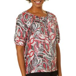 Cathy Daniels Petite Embellished Mixed Print Top