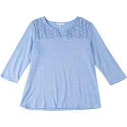 Emily Daniels Petite V Neck Top With Lace Detail