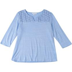 Petite V Neck Top With Lace Detail