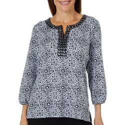 Cathy Daniels Petite Scroll Damask Jeweled Neck Top