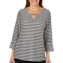 Cathy Daniels Petite Sheer Striped Keyhole Top
