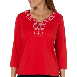Cathy Daniels Petite Embroidered Neck Top