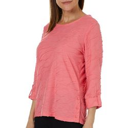 Cathy Daniels Petite Textured Round Neck Top