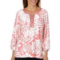Cathy Daniels Petite Tropical Floral Jewel Neck Top