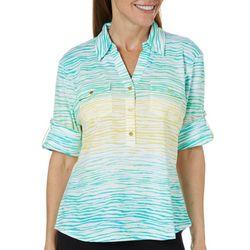 Cathy Daniels Petite Wavy Stripe Roll Tab Sleeve Top