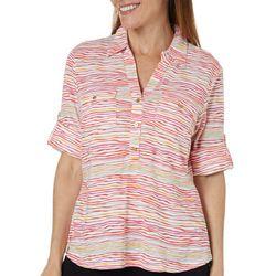 Cathy Daniels Petite Wavy Stripe Print Roll Tab Top