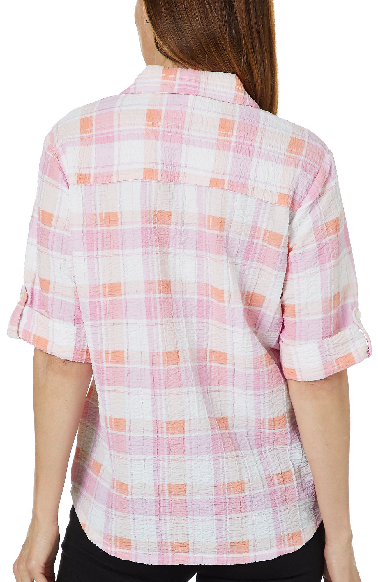 9a3f46402bdc1 Cathy Daniels Petite Plaid Seersucker Roll Tab Sleeve Top