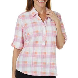 Cathy Daniels Petite Plaid Seersucker Roll Tab Sleeve Top