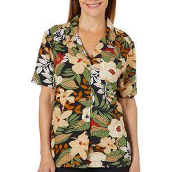 Cathy Daniels Petite Tropical Button Down Short Sleeve Top