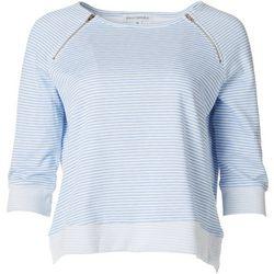 Emily Daniels Petite Striped Pullover Zip Detail Sweater