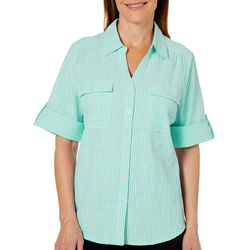 Cathy Daniels Petite Gingham Print Roll Tab Top